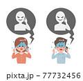 電話相手とトラブルになる女性と男性 77732456