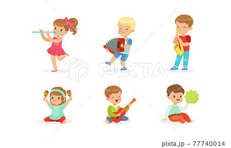 Smiling Boy and Girl Playing Flute and Saxophone Vector Set 77740014