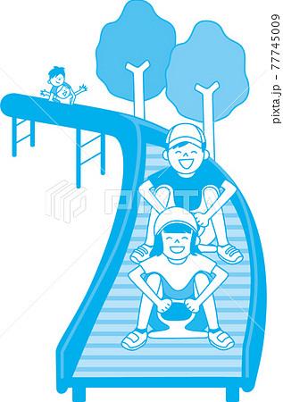 ローラー滑り台を楽しむ子供たち 77745009