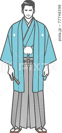 紋付袴を着た男性 77748396
