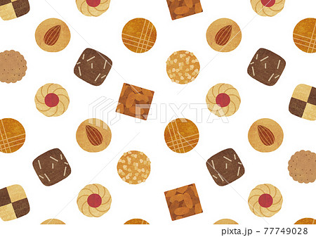水彩のクッキー模様 77749028