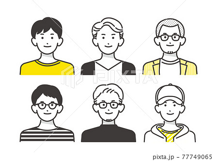 シンプルな男性の線画ベクターイラスト素材/若者/オシャレ 77749065