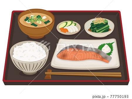 和食/朝食・朝ごはん(鮭の塩焼き) 77750193