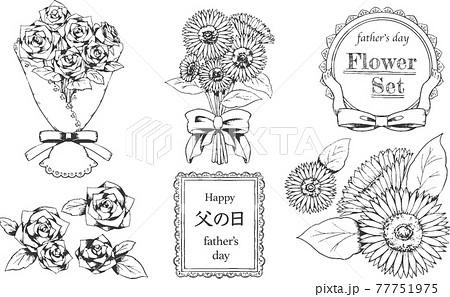 父の日 花束とフレーム 線画 77751975