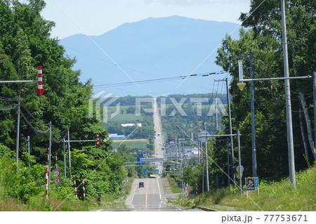北海道 知床連山海別岳を望む直線道路 77753671