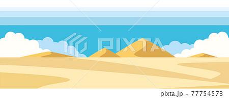 空と砂漠の景色のイラスト素材 77754573