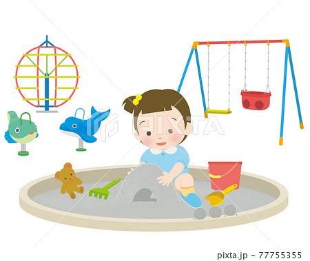 砂遊びをする幼女 77755355