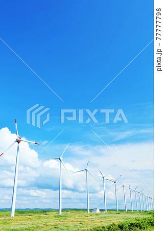 北海道 夏の青空とオトンルイ風力発電の風景 77777798