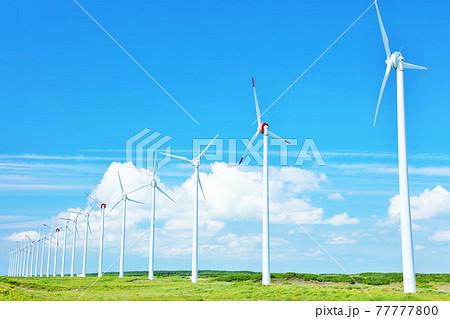 北海道 夏の青空とオトンルイ風力発電の風景 77777800