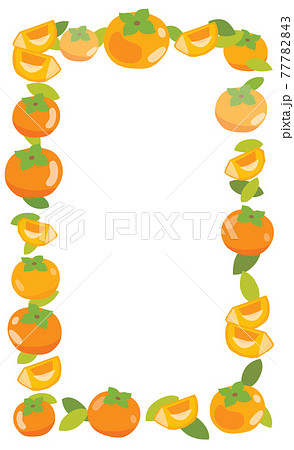 柿の縦長のフレームイラスト 77782843