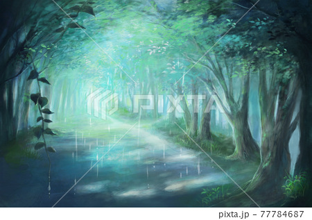 初夏の森(並木道)の風景イラスト(雨降り) 77784687