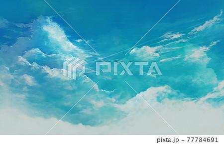 ブルーの入道雲の風景イラスト(コピースペースあり) 77784691