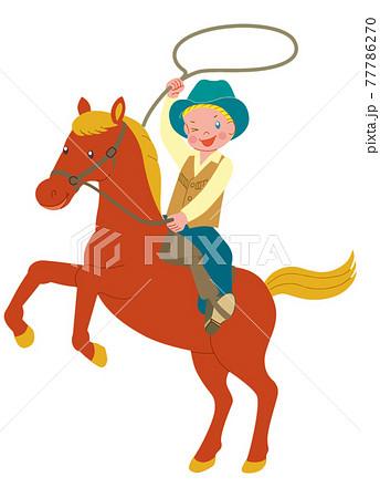 馬に乗って縄を回すカウボーイ 77786270