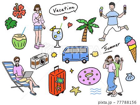 リゾート旅行を楽しむ若い男性と女性 77788156