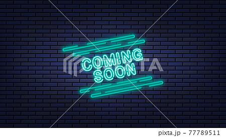 レンガの壁にCOMING SOONのネオンサインが描かれた背景イラスト 77789511
