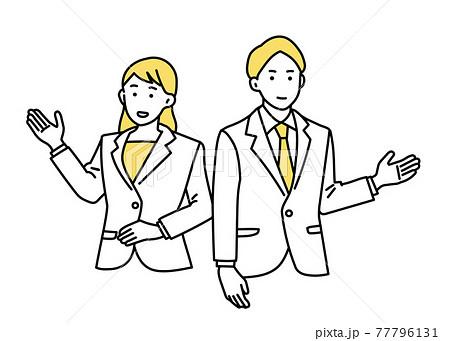 男性&女性ビジネスパーソン 案内 77796131