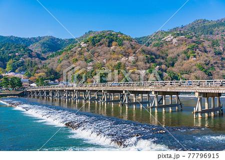 京都 春の嵐山 渡月橋と桜  77796915