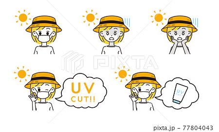 UV対策をする女性のイラスト 77804043