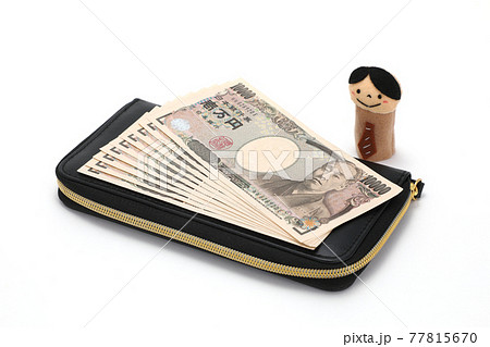 お札と財布イメージ 77815670