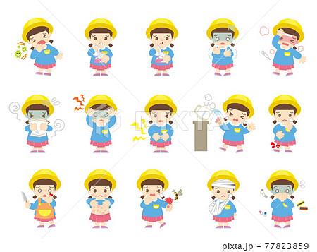 子供の病気と怪我(女の子・帽子あり) 77823859