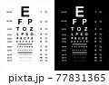 Eyes test charts with latin letters isolated on background. Art design medical poster with sign. 77831365