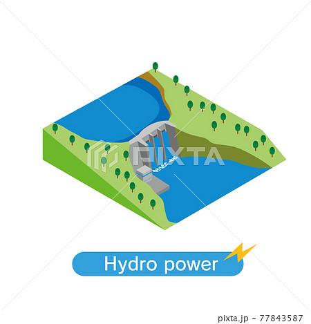 水力発電ダムのアイソメトリックイラスト 77843587
