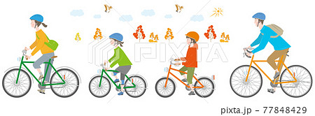 秋の屋外で自転車に乗る女性と男性と男の子 77848429