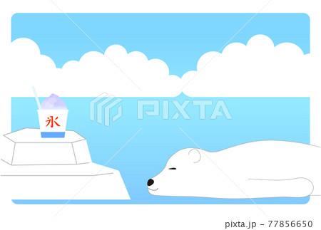白クマとかき氷の夏のイメージ背景 77856650