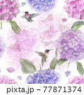 Seamless floral design with hydrangea flowers . Endless pattern. 77871374