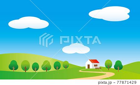 青空と丘に建つ一軒家のさわやかな風景のイラスト 77871429