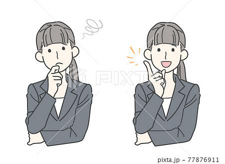 悩む・解決 - 若い女性のビフォーアフターイメージイラスト 77876911
