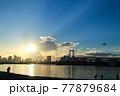 夕暮れ前、青空のお台場の風景 77879684