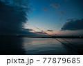 夕暮れ時の海と2本の釣り竿 77879685