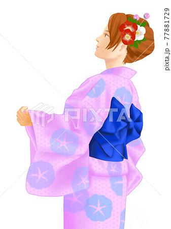 浴衣姿の女性 77881729