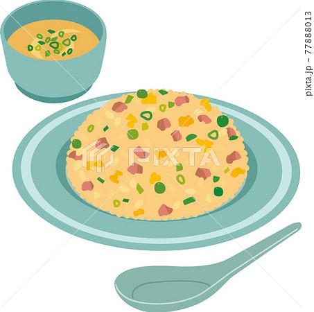 チャーハンとスープ 77888013