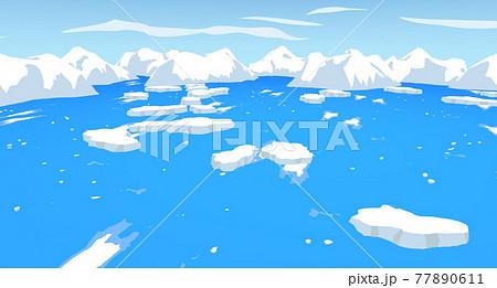 北極や南極の海に浮かぶ氷と雪山 77890611
