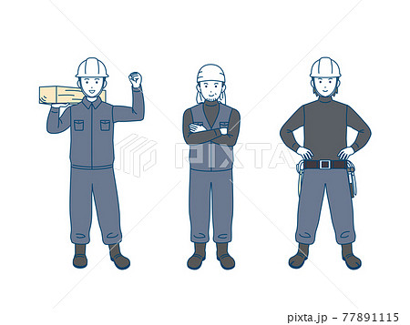 大工 土方 親方 職人 男性 労働者 全身 イラスト素材 77891115