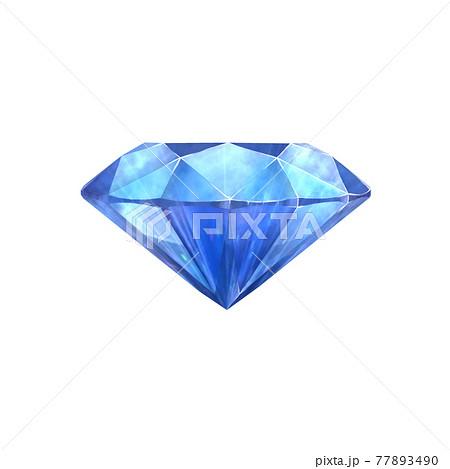 横から見たブリリアントカットの青い宝石 77893490