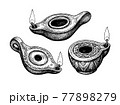 Ancient clay oil lamps. 77898279