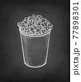 Chalk sketch of popcorn. 77898301