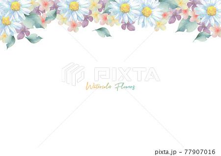 いろいろな淡い色の花のフレーム 77907016