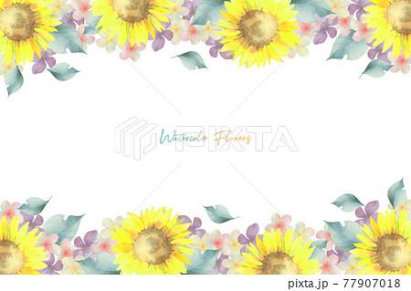 ヒマワリといろいろなお花のフレーム 77907018