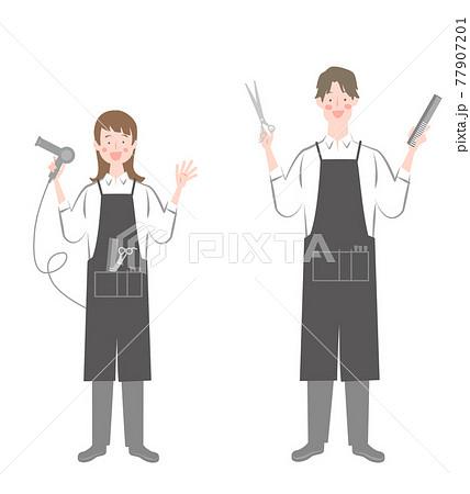 女性と男性の美容師 77907201