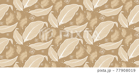 Natural fabric seamless pattern with tropical leaf palm . Vector illustration. 77908019