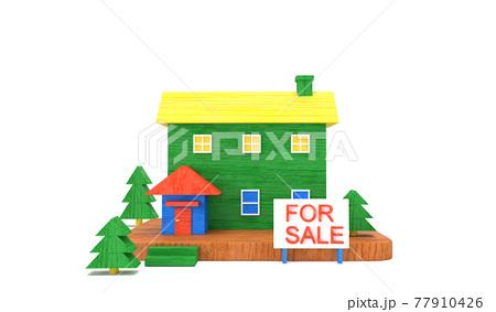カラフルでかわいい木製の家 , 不動産販売のイメージ , 3Dレンダリング 77910426