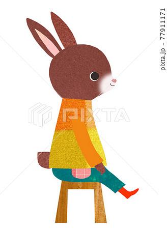 椅子に座るうさぎ 77911171