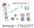 ワクチンと女性医師と患者 セット 77912257