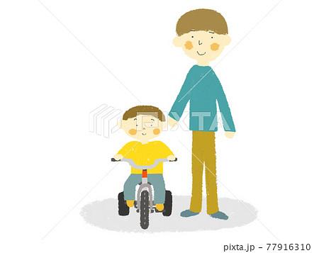 三輪車に乗る子どもとお父さん 77916310