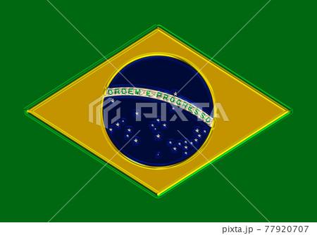 3DCGで作成したメタル(金属)調のブラジル連邦共和国の国旗の金属プレート 77920707