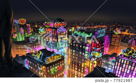 ネオン街の夜景 77921987